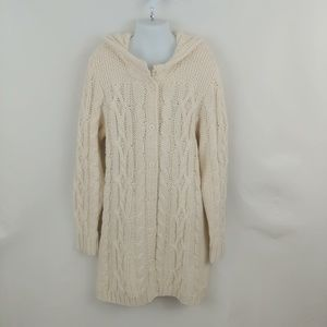 Girl's Lands End Cable Knit Hooded Cardigan Large